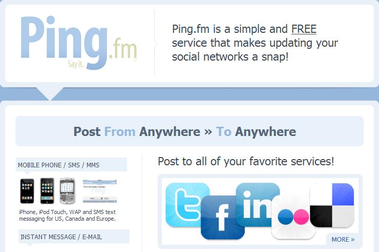 Ping fm social sharing saas