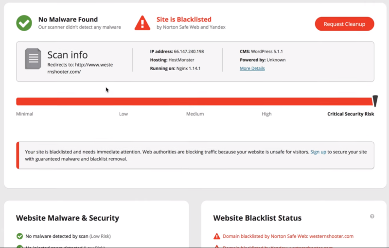 Test the site with sucuri site check