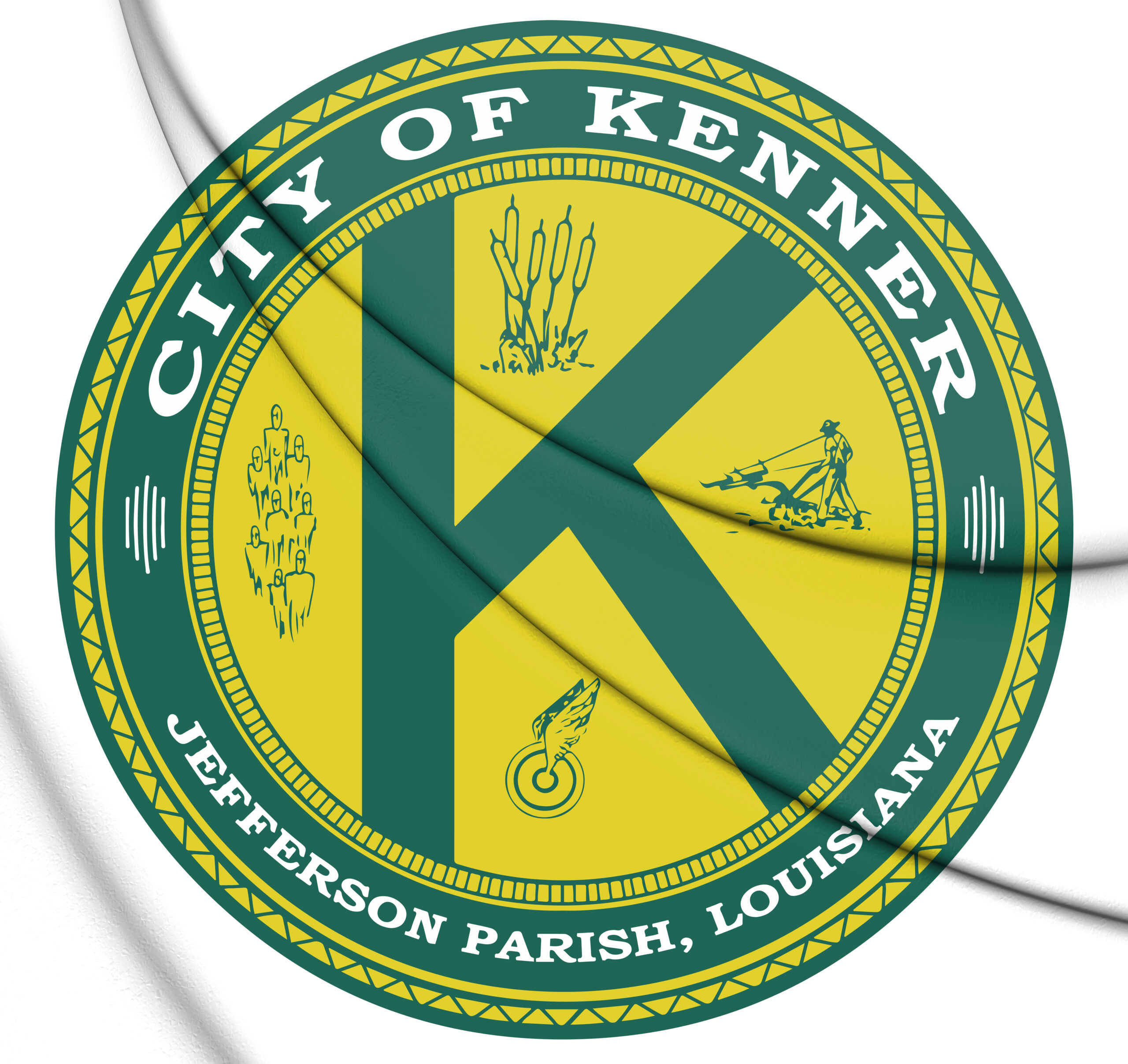 3d seal of kenner (louisiana), usa. 3d illustration.
